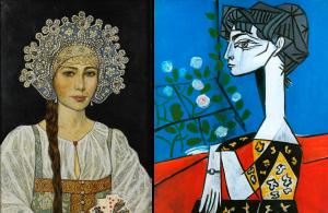 Глазунов Русская красавица и Пикассо Жаклин с цветами