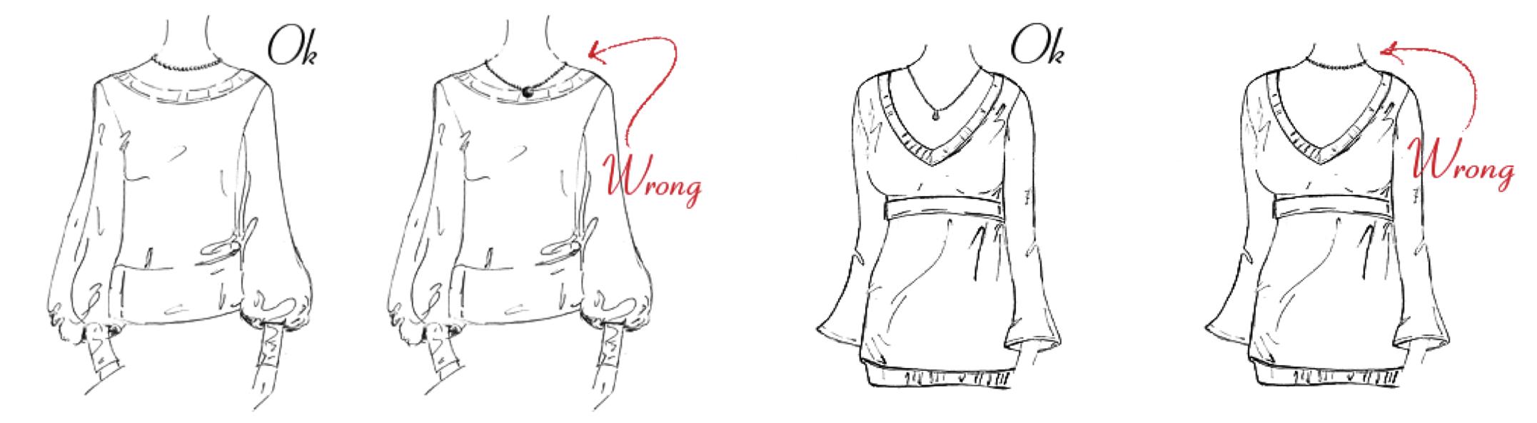 Какие украшения подходят к круглому вырезу платья фото
