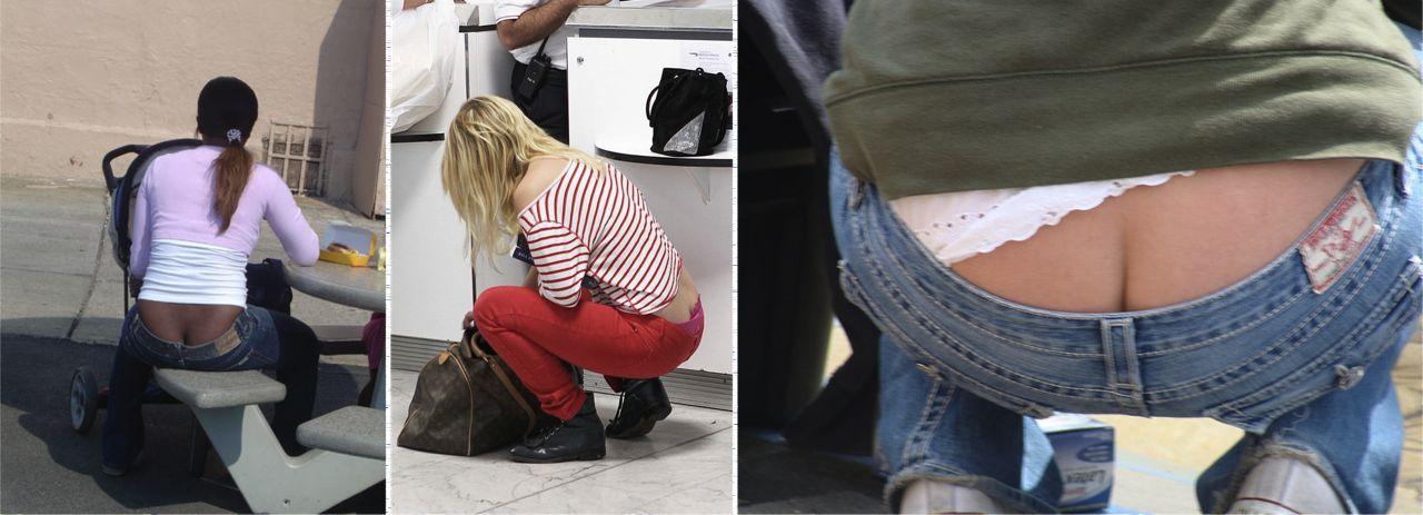джинсы с торчащей сверху попой