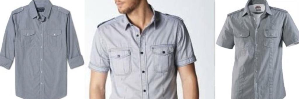 Джинсовые мужские рубашки с коротким рукавом фото