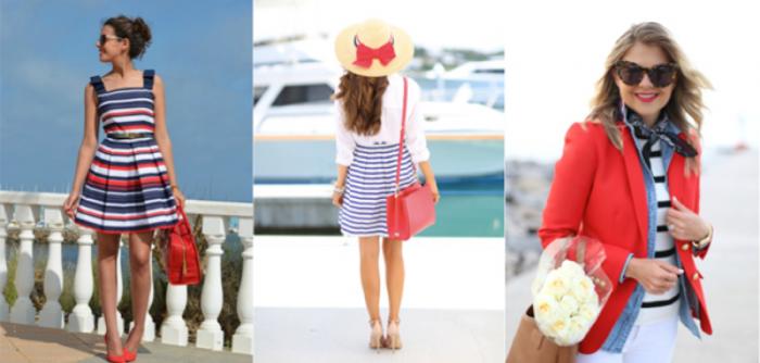 Сочетание красный-синий-белый в одежде