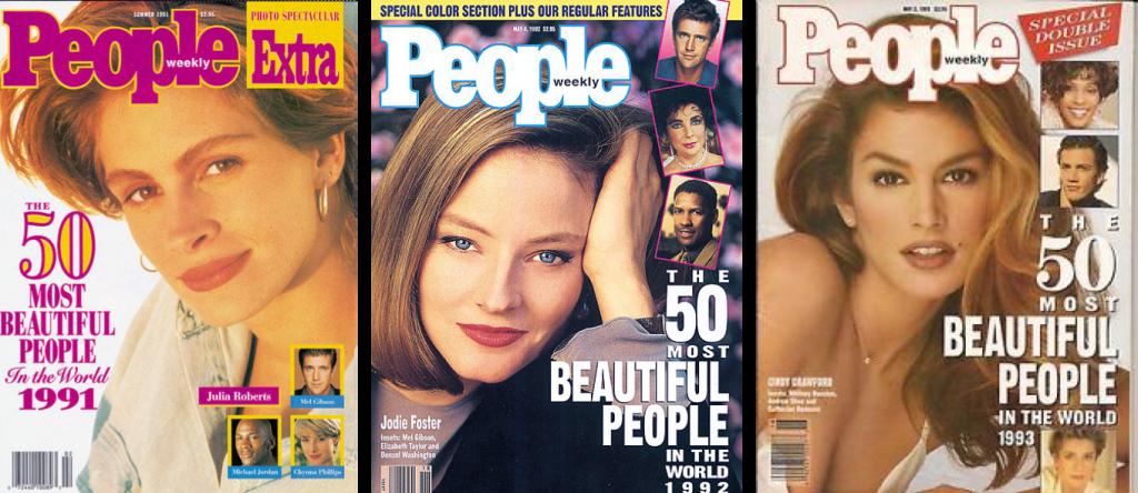 Самые красивые женщины начала 90-х - Джулия Робертс, Джуди Фостер, Синди Кроуфорд