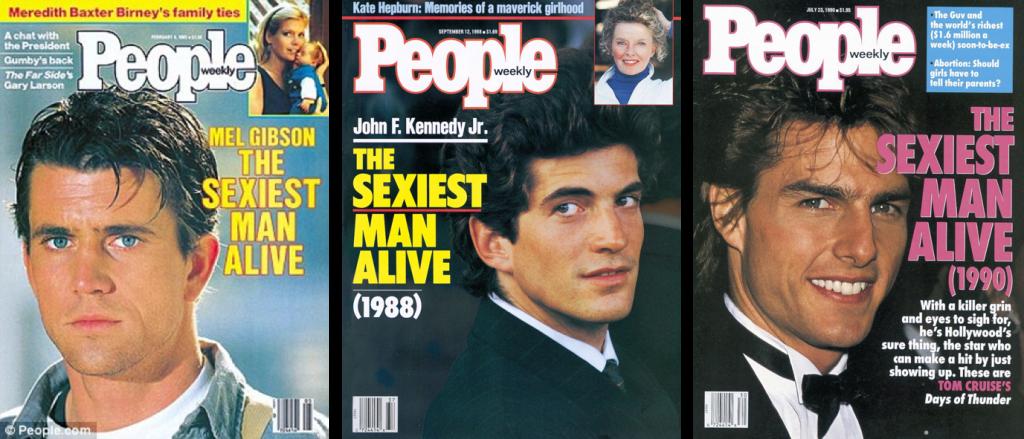 Самые красивые мужчины 80-х - 90-х - Мел Гибсон, Джон Кеннеди-младший, Том Круз